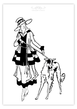 Frau mit Hund als Ausmalbild