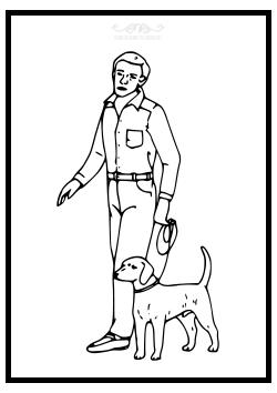 Mann mit Hund als Ausmalbild