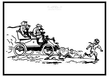 Kutsche mit Hund und Kind als Ausmalbild